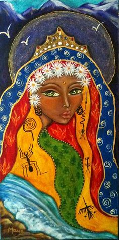 Sacred Art Painting - Pachamamma by Maya Telford Gaia, Namaste Art, Wicca, Spiritual Paintings, Spirited Art, Canadian Artists, Sacred Art, Our Lady, Paintings For Sale
