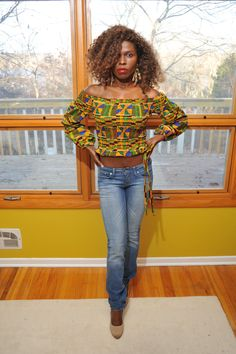51de2a572e3e2e Long Sleeve Off Shoulder Kente Ankara African Print Top by UtterLadyness on  Etsy