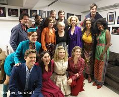 Peter Reardon, Lawrence E. Street, Jane Pfitsch, James Ludwig, Joseph Spieldenner, Ellen Harvey, Nora Schell, Jeannette Bayardelle, Paul Schaefer, Mara Davi, Aaron Tveit, Rebecca Kuznick, Lauren Marcus and Kate Loprest gather around original Company member, Teri Ralston. Congrats to the entire cast on a wonderful opening night!