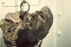 """This is the mummified head of Peter Kurten, The Dusseldorf Vampire. He was tried for 68 crimes, sentenced to death and beheaded in 1931 in Cologne, Germany. Scientists wanted to study his brain because they believed it to be different from a """"normal"""" brain."""