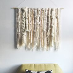 Woven Wall Hanging   Ivory and Neutral Fibers Weaving by UnrulyEdges on Etsy https://www.etsy.com/listing/468884731/woven-wall-hanging-ivory-and-neutral