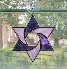 Stained Glass Star Suncatcher - Star of David - Judaica - Purple Star - Jewish Star - Religious Decor - Star Ornament - Jewish Gift by StainedGlassYourWay on Etsy