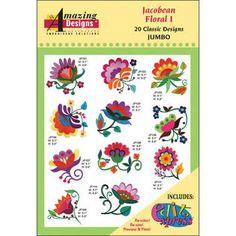 Jacobean Embroidery Patterns | Jacobean Floral I Embroidery Designs
