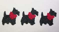 Set of 3 Scottie Terrier Dog w/Bows Cotton Fabric Appliques Quilting & Clothing #Unbranded