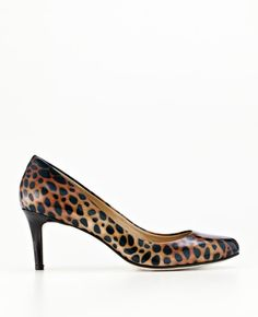 Ann Taylor - AT Exotics - Perfect Animal Print Patent Leather Kitten Heels