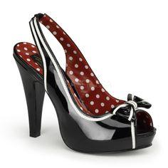 SALE! Black & White Patent Leather Slingback Bettie Heels - Unique Vintage - Prom dresses, retro dresses, retro swimsuits.