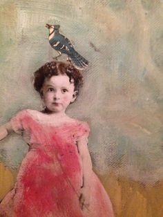 """Fly Away"" painting vintage child with bird and deer original mixed by MaudstarrArt"