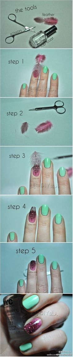 Feather nails tutorial - Click image to find more nail art posts