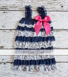 5a0b2cbdc Lace Romper Navy Stripe CHOOSE BOW COLORS: by RusticRoadBoutique Baby Girl  1st Birthday, 1st