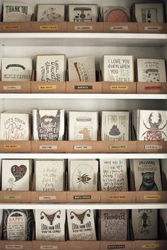greeting card inventory storage inspiration + sources from so excited to have found this for the future! Gift Shop Displays, Craft Fair Displays, Card Displays, Display Ideas, Craft Booths, Display Stands, Greeting Card Storage, Greeting Cards Display, Postcard Display