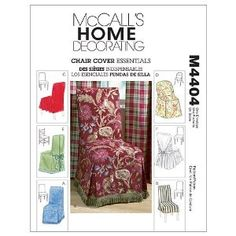 McCall's Chair Cover Essentials (One Size) Package includes instructions and some patterns for six different chair covers to fit standard chairs, parson's chair, folding chair or ladder back chair. Folding Chair Covers, Dining Room Chair Covers, Sewing Crafts, Sewing Projects, Sewing Ideas, Patterned Chair, Mccalls Sewing Patterns, Slipcovers For Chairs, Online Craft Store