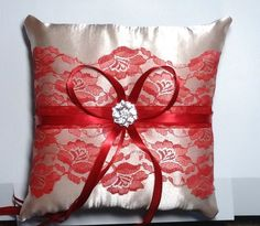 Wedding  ring bearer pillow champagne satin and red lace by irmart