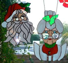 Santa or Mrs. Claus Stained Glass Window Hanging by glassmagic, $159.00