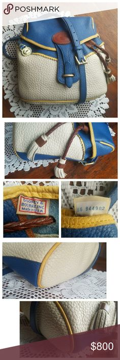Dooney & Bourke AWL Teton A unicorn!! 🦄 Pictures say it all for this beauty!! This is a very rare & gorgeous D&B All-Weather Leather Tri-colored Teton crossbody drawstring in French Blue, Palomino & Bone. ♥Very clean inside & out w/a few minor rubs on her corners. One interior zip pocket with 2 slip pockets (one is a snap closure) & an exterior slip pocket on the back. Serial #B6944902🚬🆓🐶🐱🆓🏠 Dooney & Bourke Bags Crossbody Bags