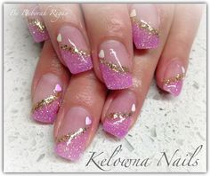 Pink and gold sparkles Nail Tip Designs, Marble Nail Designs, Fingernail Designs, Nail Designs Spring, Gel Nail Art, Gel Nails, Acrylic Nails, Sprinkle Nails, Natural Nail Art