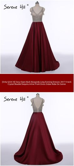 [Only $224.10] Sexy Open Back Burgundy Long Evening Dresses 2017 V-neck Crystal Beaded Sequins A-line Prom Dress Dubai Robe De Soiree