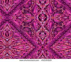 beatiful seamless paisley placement pattern with flowers, lace, swirls, borders, jacobeans and other traditional folk elements in a diagonal rhombus compositon.