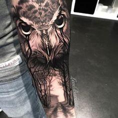 Owl tattoo on forearm by Levi Barnett