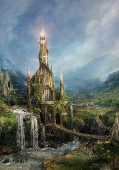 Dark Art - Fantasy Castle with Light Fantasy City, Fantasy Castle, Fantasy Kunst, World Of Fantasy, Fantasy Places, Sci Fi Fantasy, Dream Fantasy, Fairytale Castle, Fantasy Setting
