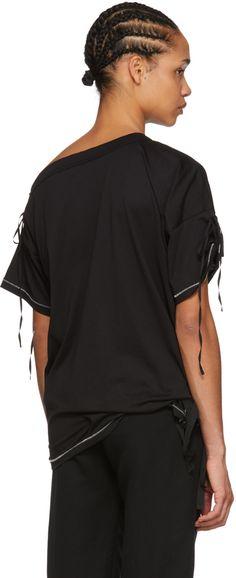 Ann Demeulemeester - Black Elmer Off-the-Shoulder T-Shirt