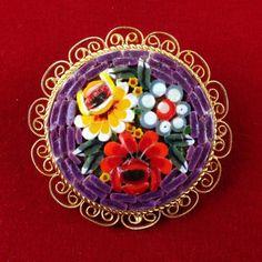 I'm auctioning 'Vintage Italian Millefiori Glass Bead Mosaic Flower Circular Brooch Pin P5126' on #tophatter