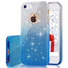iPhone 5 5S SE Case VPR Bling Luxury Glitter Pretty Cute Premium 3 Layer Ultra Thin Sparkle AntiSlick  Soft Slim TPU Unique Protective Case for iPhone 5 5S SE SilverBlue -- Click image for more details.(It is Amazon affiliate link) #likes4likes