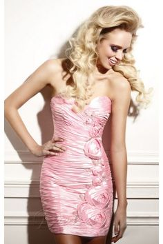 Pink Sheath Sweetheart Mini Length Zipper Cocktail Dresses With Hand Made Flower and Ruffles