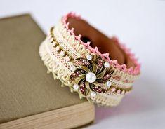 Vintage Lace Bracelet - Romantic Cuff Bracelet, Bridesmaid Gift, Bridesmaid Bracelet, Wedding Jewelry, Pink Shabby Chic Bracelet, Cream Lace