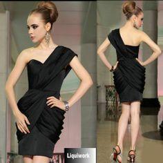 Black One Shoulder Sheath Short Cocktail Party Evening Bridesmaid Dress SKU-401261