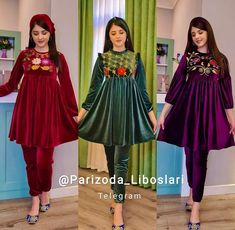 Casual Formal Dresses, Pakistani Dresses Casual, Stylish Dresses For Girls, Girls Dresses, Afghan Clothes, Afghan Dresses, Velvet Pakistani Dress, Velvet Dresses, Kurta Neck Design