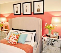 @Brooke Bennett is this your room? I see coral, shiny, and light aqua! :)