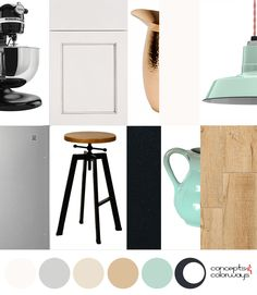 industrial mint interior mood board, mint green accents, robin's egg blue, sherwin williams kind green, hickory wood, copper accents, industrial style stool, stainless steel appliances, black granite, creamy white cabinets, interior color palettes