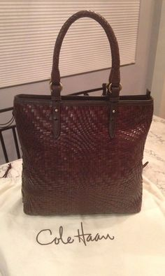 Cole Haan MINT! Genevieve Woven Brown Leather Tote Hobo Shoulder Hand Bag Purse #ColeHaan #TotesShoppers GORGEOUS!!! MINT CONDITION!!! BEAUTIFUL GENEVIEVE BROWN WOVEN TOTE BAG!!! SALE!!! WOW!!!