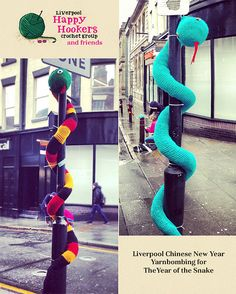 Crocheted snakes Chinese New Year Yarnbombing