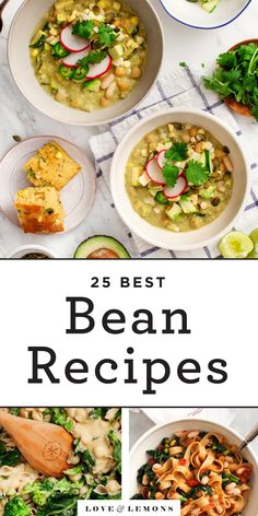 Beans are a fantastic source of plant-based protein fiber and other nutrients and they're delicious too! These 25 easy bean recipes will give you ideas for tasty healthy meals and snacks for any day of the week! Easy Bean Recipes, Veggie Recipes, Vegetarian Recipes, Cooking Recipes, Healthy Recipes, Healthy Beans, Vegetarian Tacos, Best Beans, White Bean Soup