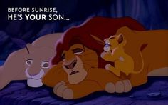 """""""Before sunrise, he's your son."""" - Mufasa The Lion King Lion King 3, The Lion King 1994, Lion King Movie, Disney Lion King, Disney Pixar, Disney And Dreamworks, Walt Disney, Disney Dream, Disney Love"""