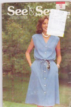 1970s vintage sewing pattern for loose fitting button front summer dress misses size 10 Butterick See & Sew 6000 UNCUT