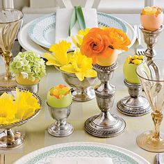 Easter Eggs for Your Table - Egg-cellent Easter Table Decorations - Southernliving. Colorful natural containers pair prettily with classic silver pieces to create an elegant spring tablescape. Find out how to create your own table decorations. Easter Table Settings, Easter Table Decorations, Decoration Table, Easter Decor, Spring Decorations, Easter Centerpiece, Centerpiece Ideas, Table Centerpieces, Easter Dinner