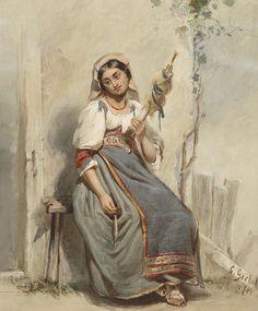 АкварельноПортретноЖанровое... Carl Peter Goebel (Austrian, 1824-1899). Обсуждение на LiveInternet - Российский Сервис Онлайн-Дневников