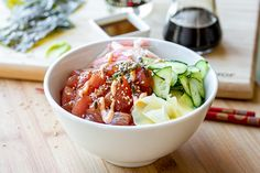 Colorful, fresh, light and healthy, this poke bowl with fresh and spicy ahi tuna is your favorite sushi roll in a bowl!