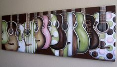 "Guitars on Canvas - set of three 20"" x 20"" paintings MADE TO ORDER. $340.00, via Etsy."
