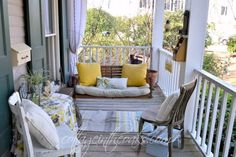 Cottage front porch swing