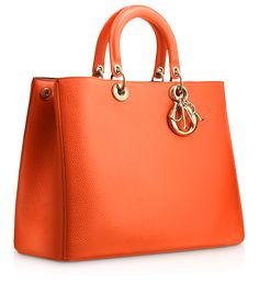 "DIORISSIMO - Large Tangerine leather ""Diorissimo"" bag"