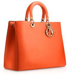 "DIORISSIMO - Large Tangerine leather ""Diorissimo"" bag"
