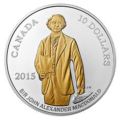 1/2 oz. Fine Silver Gold-Plated Coin - 200th Anniversary of the Birth of Sir John A. Macdonald - Mintage: 10,000 (2015)