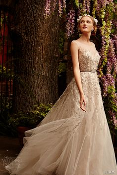 TOP 50 #Bridal Collections bhldn spring 2015 bridal sleeveless illusion sweetheart neckline metallic lace strips layered tulle skirt sandstone a line wedding dress wisteria