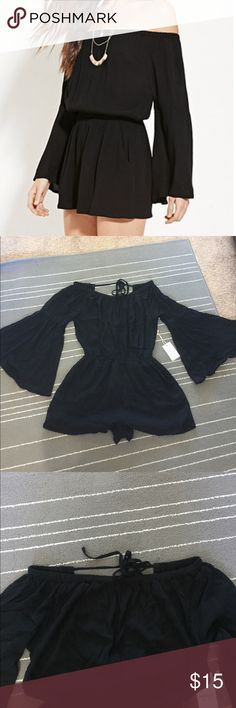 Off the shoulder Jumpsuit Black off the shoulder Jumpsuit with pockets! The sleeves are very on trend right now. It's super easy to style and boom! You have your best summer outfit!  Forever 21 Dresses Strapless