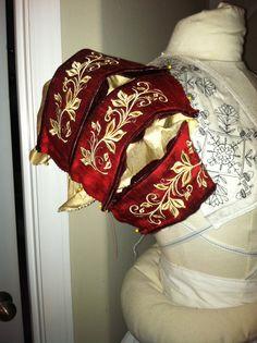 Elizabethan Costume: WORK IN PROGRESS. Paned sleeves with custom embroidery, silk velvet piping. #Elizabethan #Renaissance #Tudor