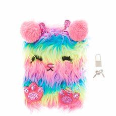 Furry Glitter Monster Lock Diary