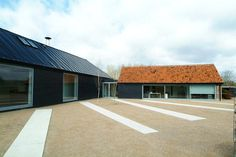 Wiltshire Barn - two structures - atrium joined.